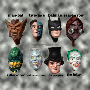Polymer clay sculpture of batman and villains