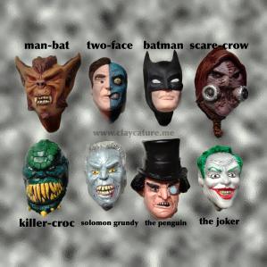 Polymer clay sculpture of batman and villains